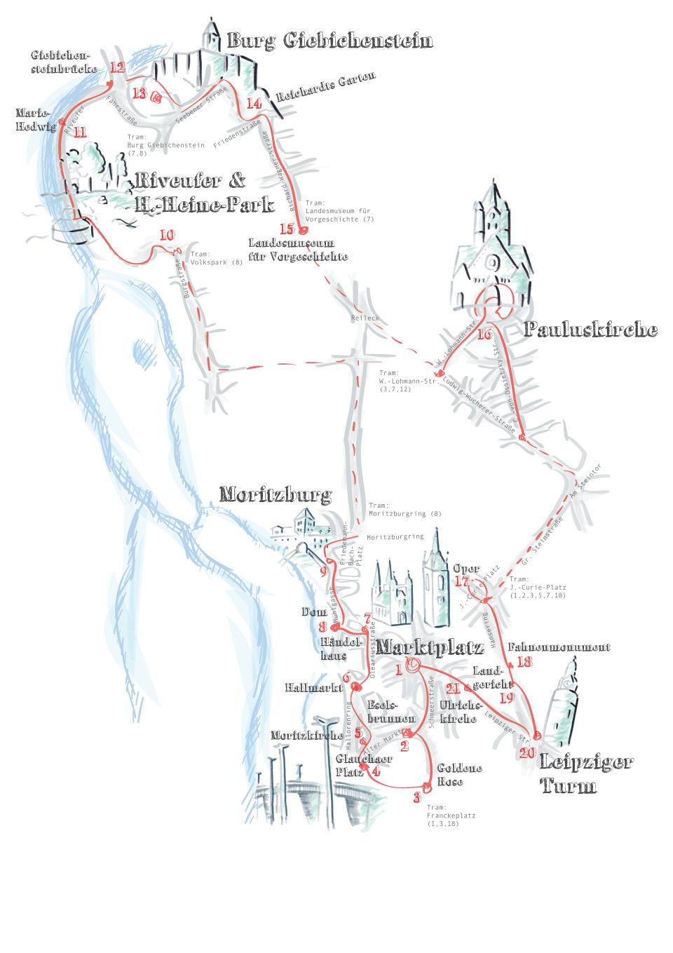 Illustration des Weges der Halle-Foto-Tour